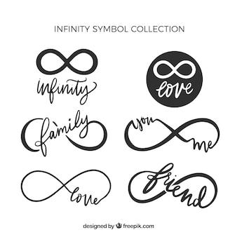 Colección de símbolos de infinito con palabras