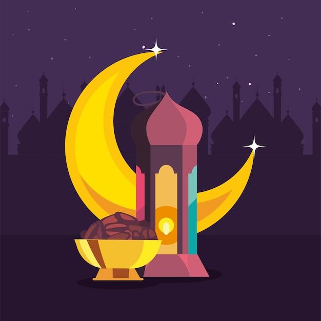 Colección de símbolos islámicos de eid mubarak