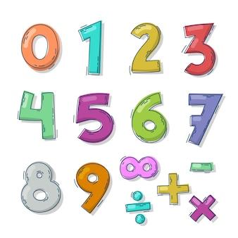 Colección de símbolos matemáticos dibujados a mano