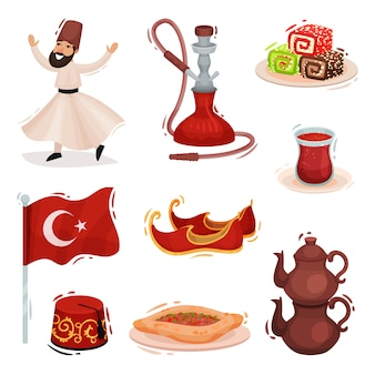 Colección de símbolos nacionales turcos. ilustración sobre fondo blanco.