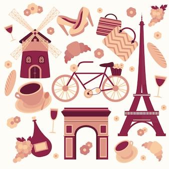 Colección de símbolos de parís de la torre eiffel francés croissant café y cultura aislado