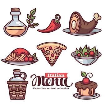 Colección de símbolos planos lineales de alimentos y bebidas