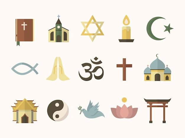 Colección de símbolos religiosos ilustrados