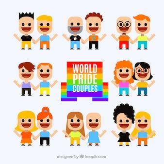 Colección de simpáticas personas del día del orgullo