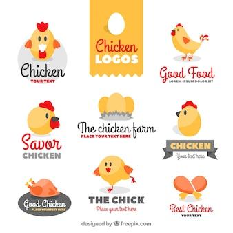 Colección de simpáticos logos de gallinas