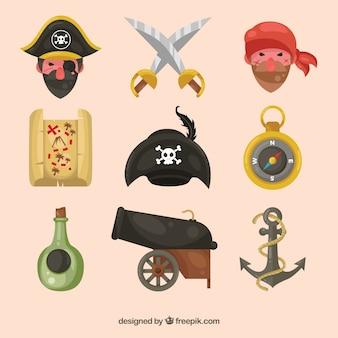 Colección de simpáticos piratas y otros elementos