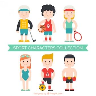 Colección de simpáticos planos personajes deportistas