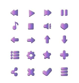 Colección simple de botones circulares para la música del reproductor móvil web