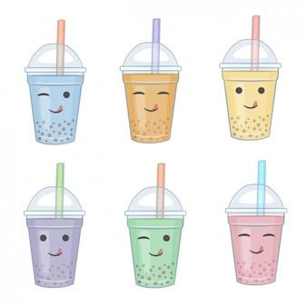Colección de smoothies con caras