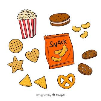 Colección de snacks deliciosos dibujados a mano