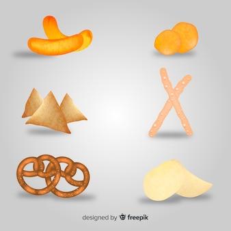 Colección de snacks deliciosos con diseño realista