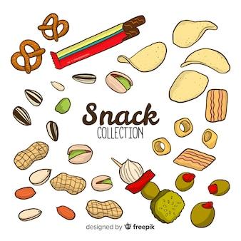 Colección de snacks deliciosos
