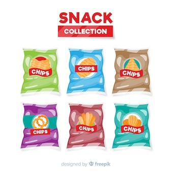 Colección de snacks en diseño flat