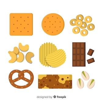 Colección de snacks insalubres