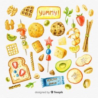 Colección de snacks saludables