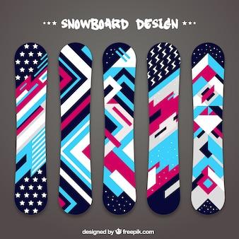 Colección de snowboards en diseño geométrico
