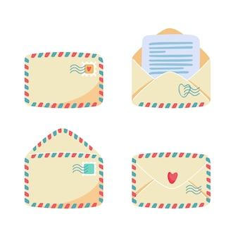 Colección de sobres de papel con franjas de correo aéreo. vista abierta, cerrada, frontal, posterior. sellos y matasellos en él, carta o nota en el interior. concepto de servicio postal. ilustración de dibujos animados plana