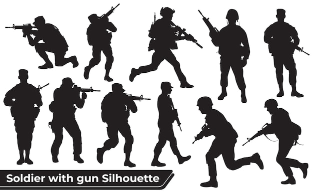 Colección de soldado con siluetas de armas en diferentes poses