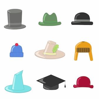 Colección de sombreros y bombines, con sombrero de mago