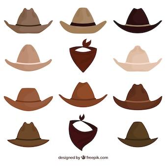 Colección de sombreros y pañuelos de vaquero