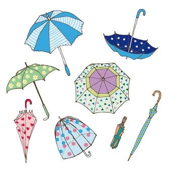 Colección de sombrillas de colores