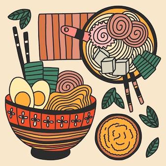 Colección de sopa de ramen dibujada a mano
