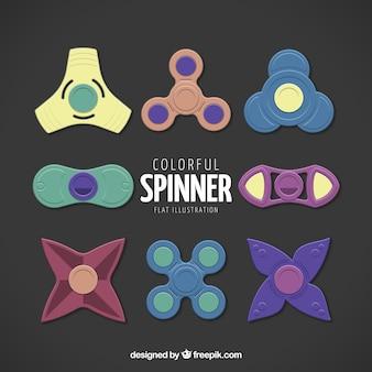 Colección de spinner en diseño plano