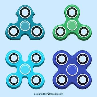 Colección de spinners de diferentes formas