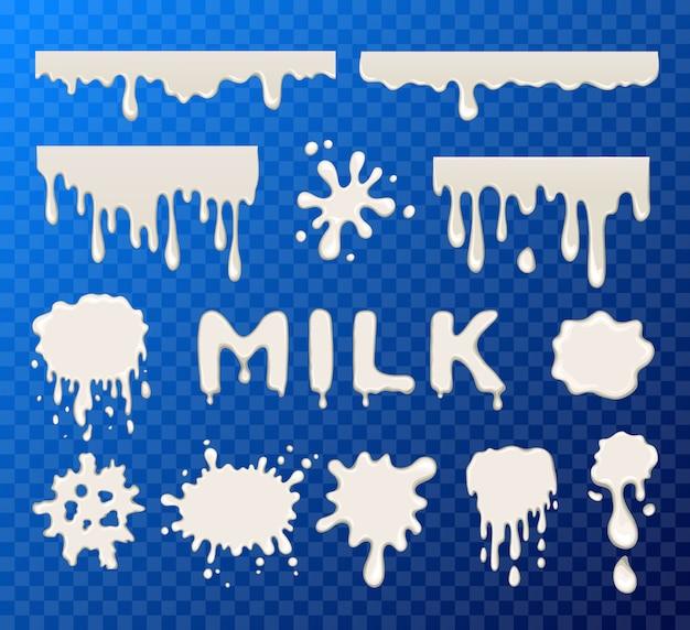 Colección de splat de leche
