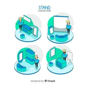 Colección de stands modernos con vista isométrica