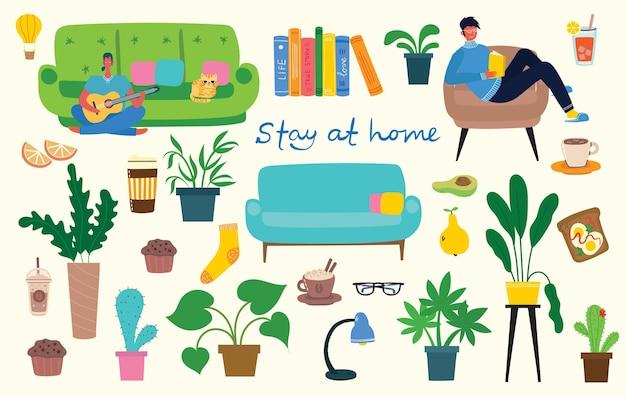 Colección stay home, actividades en el interior, concepto de comodidad y comodidad, conjunto de ilustraciones vectoriales aisladas, estilo hygge escandinavo, período de aislamiento en casa en estilo plano