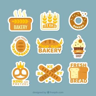 Colección de stickers de panadería en estilo plano