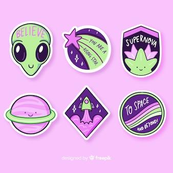 Colección de stiker de espacio de diseño plano