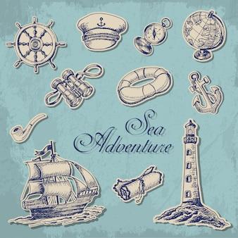 Colección de stikers marinos.