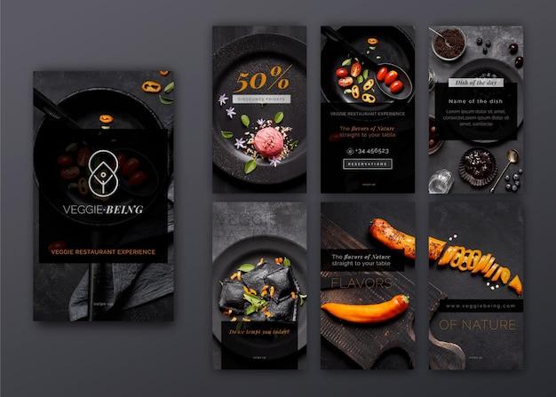 Colección de stries de instagram de restaurante saludable