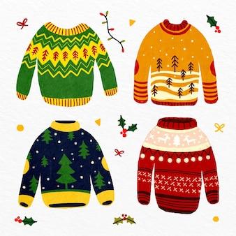 Colección de suéteres feos dibujados a mano