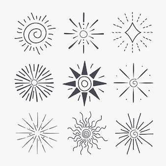 Colección sunburst dibujados a mano