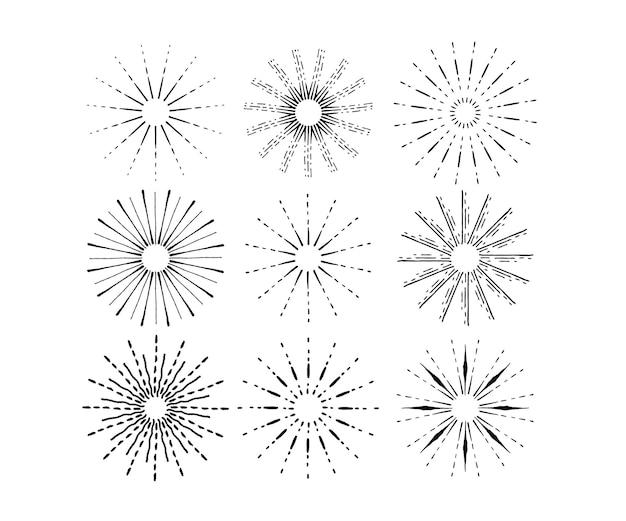 Colección sunbursts dibujados a mano