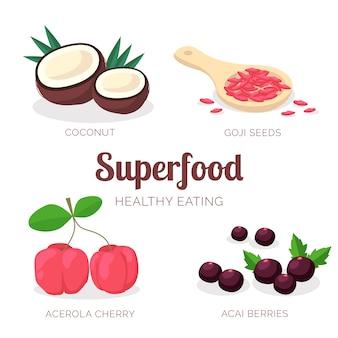 Colección de súper comida para un estilo de vida saludable.
