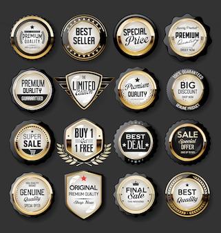 Colección de super venta y distintivo de precio y etiquetas
