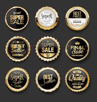 Colección de super venta de ilustración de insignias negras y doradas