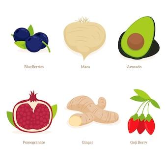 Colección de superalimentos de frutas y verduras