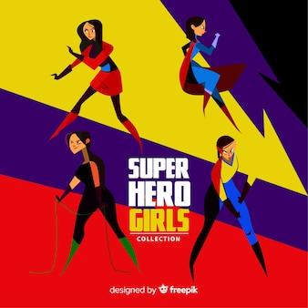 Colección de superheroes femeninos flat
