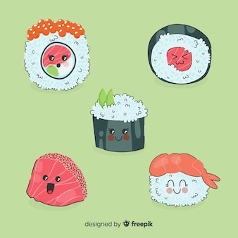 Colección sushi adorable dibujado a mano