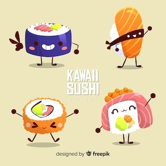 Colección sushi divertido dibujado a mano