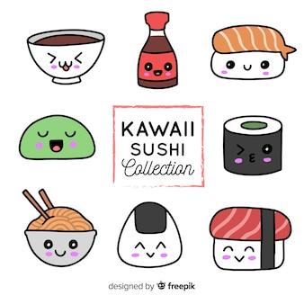 Colección sushi kawaii dibujada a mano