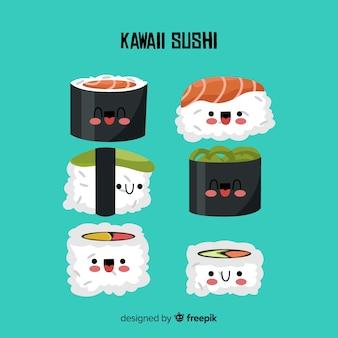 Colección sushi kawaii dibujado a mano