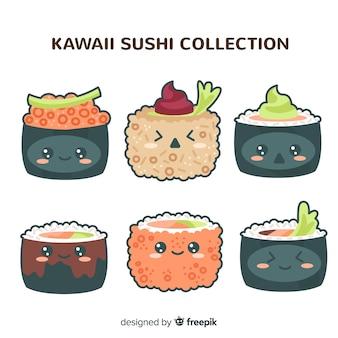 Colección sushi kawaii dibujados a mano