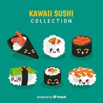Colección sushi kawaii sonriente dibujado a mano