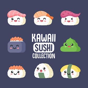 Colección de sushi kawaii